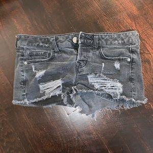 Express black denim shorts